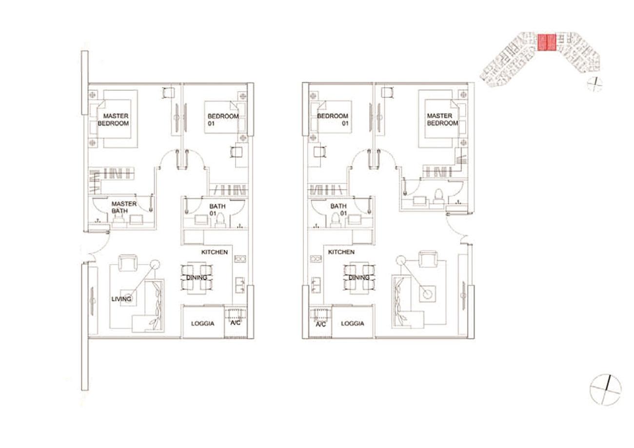 Thiết kế chi tiết căn hộ 2 phòng ngủ tại Charmington Dragonic
