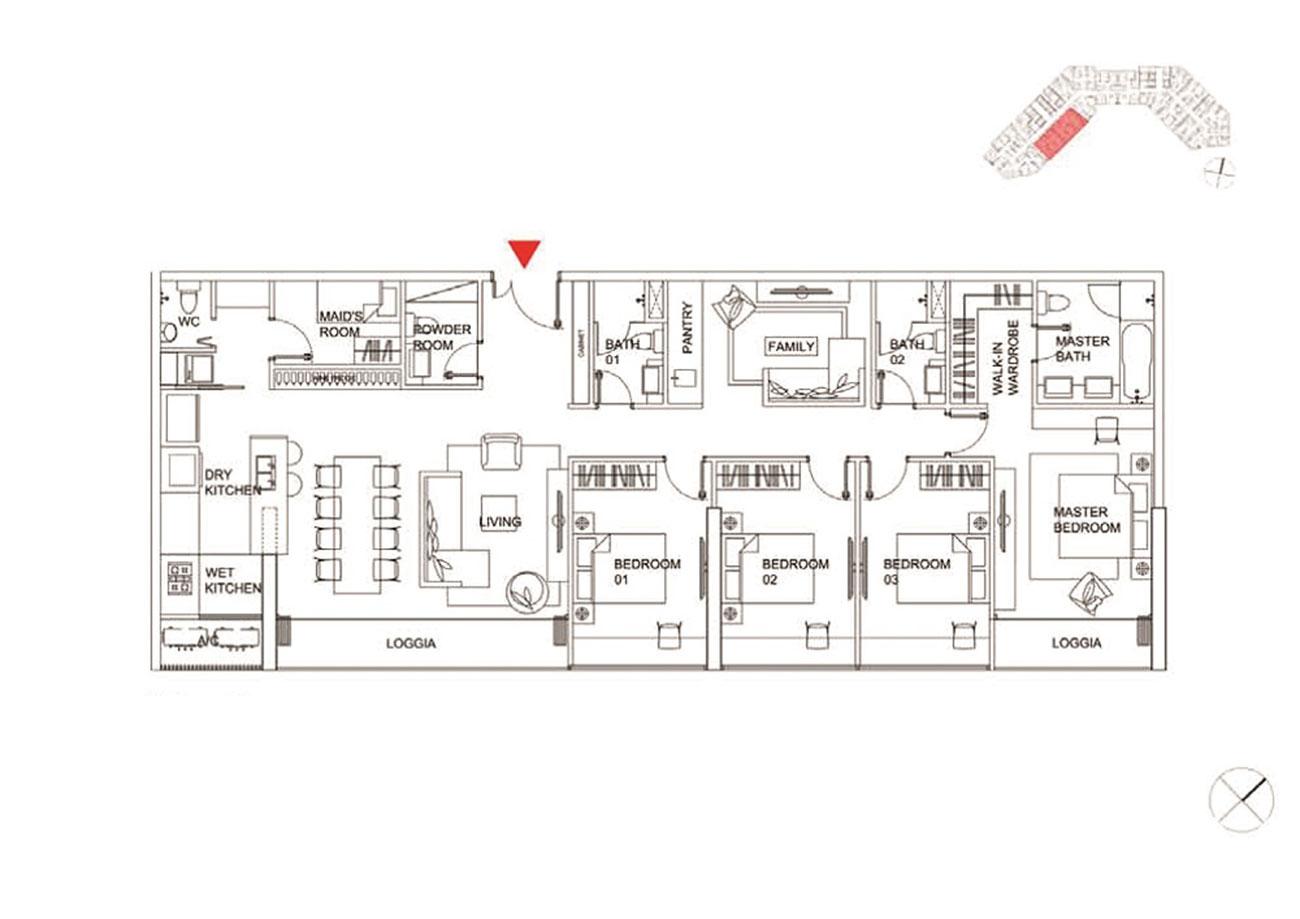 Thiết kế chi tiết căn hộ 4 phòng ngủ tại Charmington Dragonic
