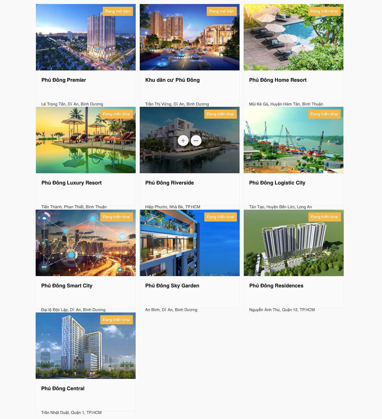 Các dự án mà chủ đầu tư Phú Đông thực hiện