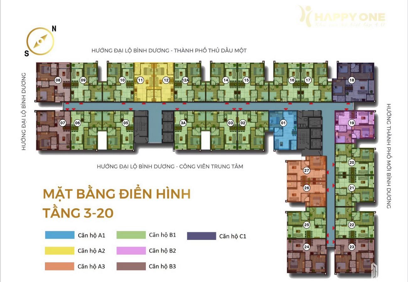 Mặt bằng tầng 3- 20 dự án Căn Hộ chung cư Happy One Central Phú Hòa Đường Đại Lộ Thủ Dầu Một chủ đầu tư Ốc Vạn Xuân