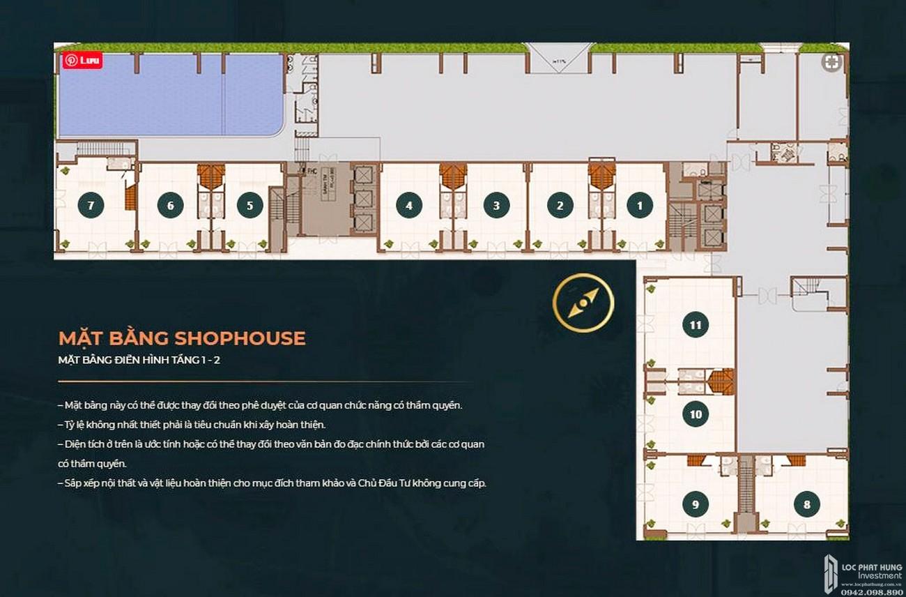 Mặt bằng tầng 1 - 2 dự án Căn Hộ chung cư Happy One Central Phú Hòa Đường Đại Lộ Thủ Dầu Một chủ đầu tư Ốc Vạn Xuân
