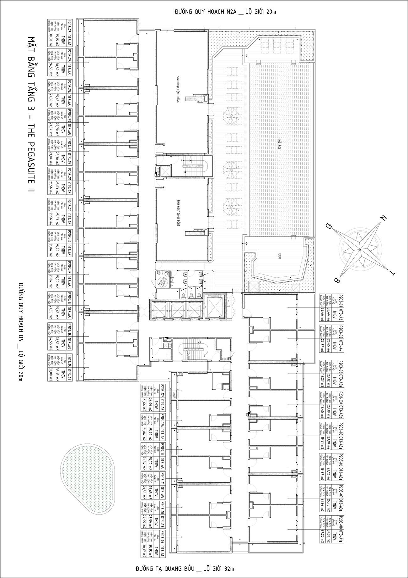 Mặt bằng chi tiết dự án Pegasuite II tầng 3