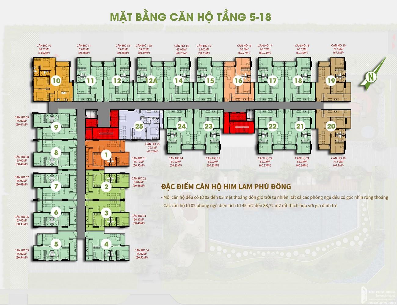Mặt bằng dự án căn hộ Him Lam Phú Đông Bình Dương