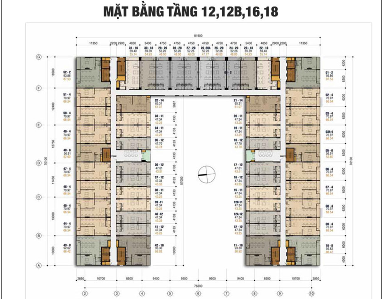 Mặt bằng tầng dự án căn hộ officetel Charmington Tân Sơn Nhất