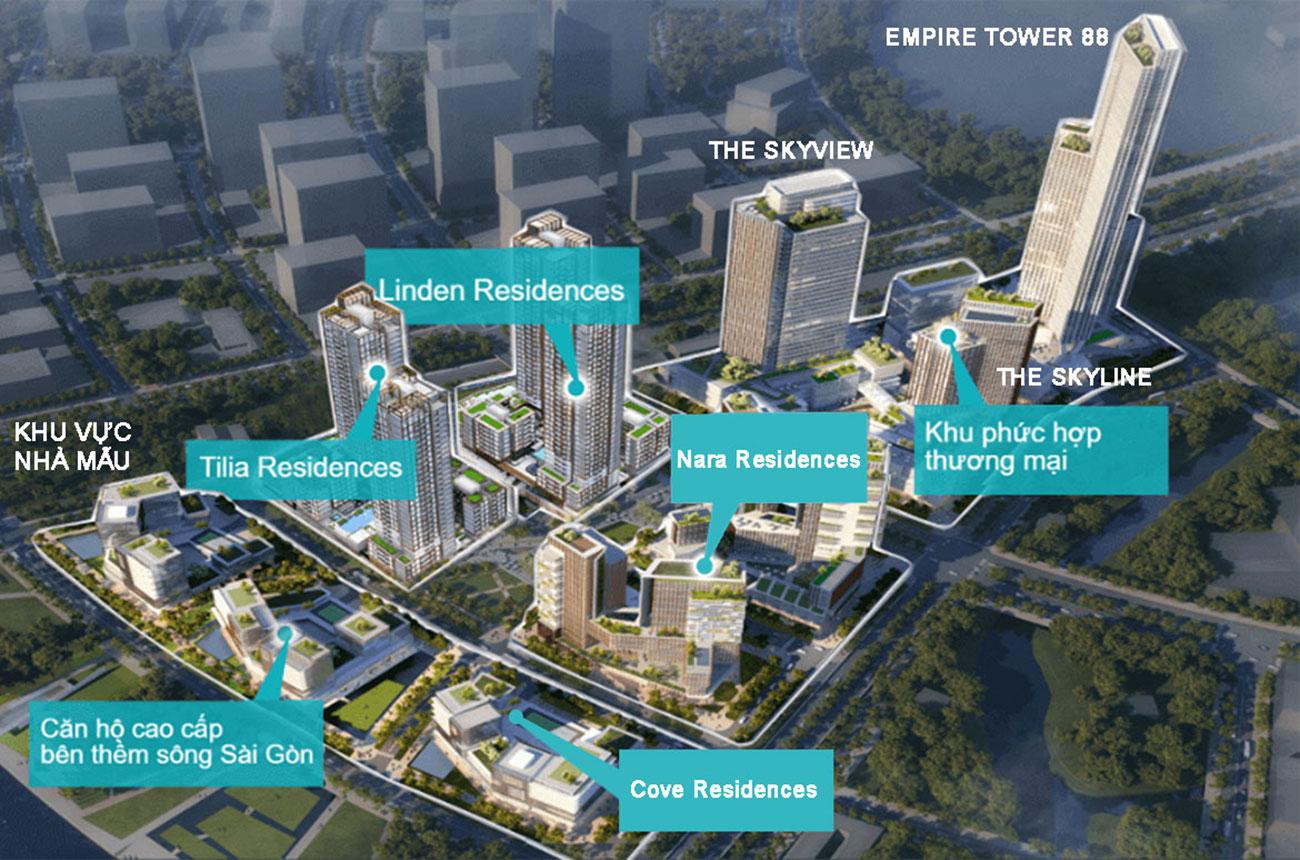 Mặt bằng dự án căn hộ chung cư Empire City Quận 2 Đường Thủ Thiêm chủ đầu tư Keppel Land