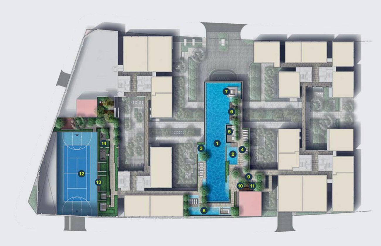Mặt bằng tổng thể tòa Cove Residences