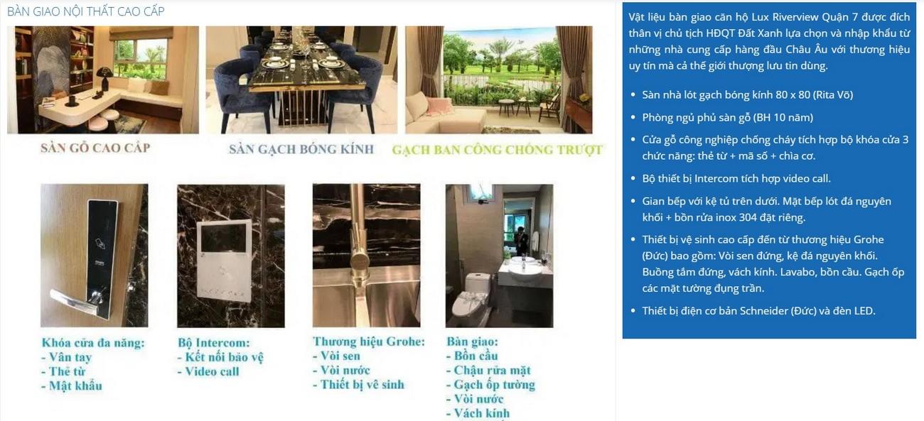 Danh mục nội thất bàn giao dự án căn hộ Lux River View