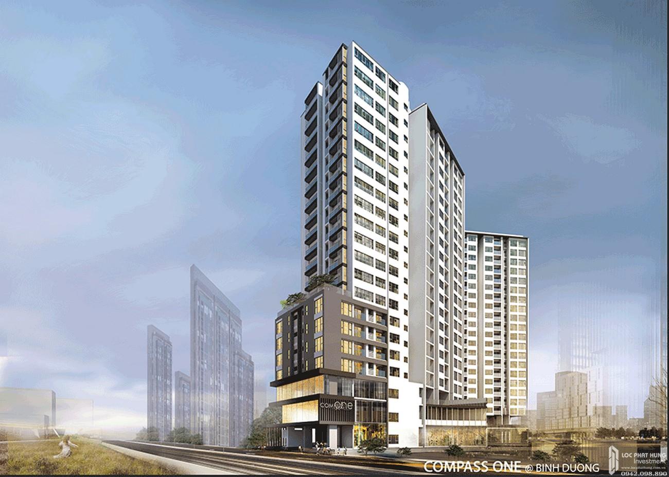 Phối cảnh tổng thể dự án Căn Hộ chung cư Compass One Thủ Dầu Một Đường Hoàng Văn Thụ chủ đầu tư Tây Hồ