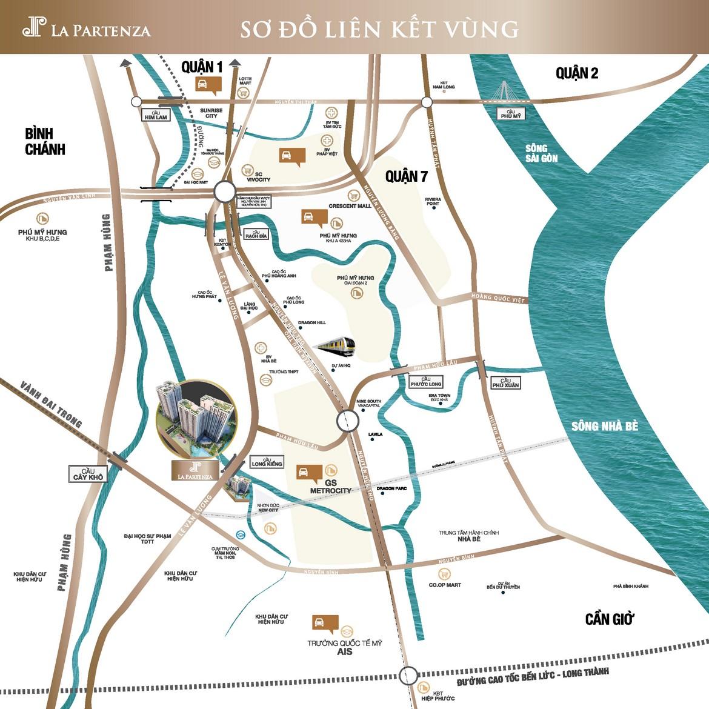 Vị trí dự án căn hộ chung cư La Partenza Nhà Bè Đường Lê Văn Lương chủ đầu tư Khải Minh Land