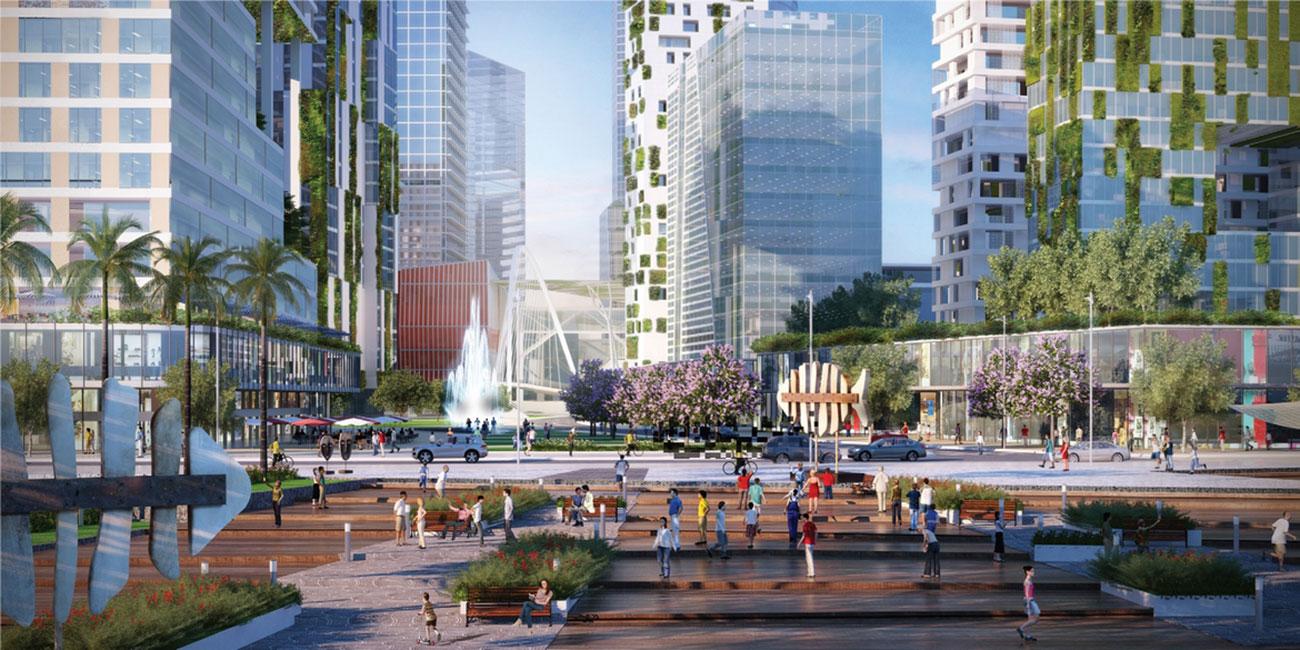 Khuôn viên rộng lớn mang đến không gian sinh hoạt cộng đồng vô cùng tiện ích