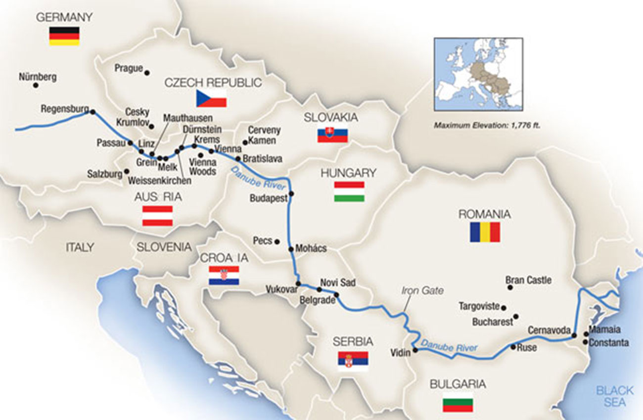 Bản đồ dòng chảy của Sông Danube