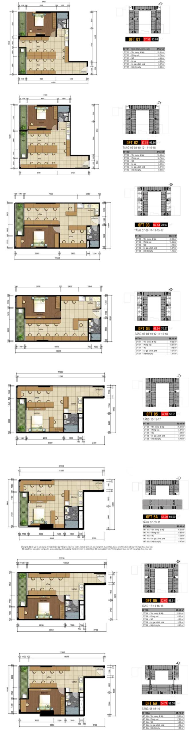 Thiết kế chi tiết căn hộ Officetel Charmington Tân Sơn Nhất