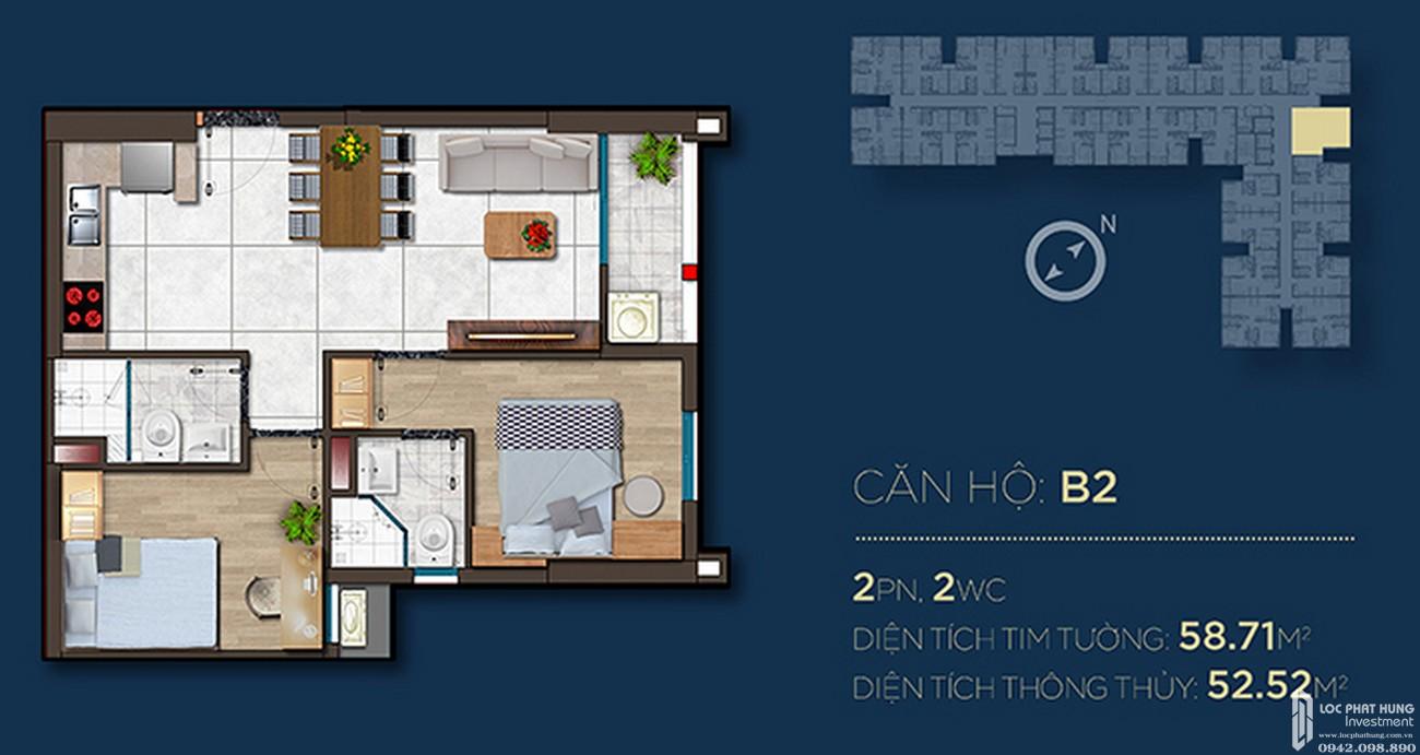 Thiết kế căn hộ B2 dự án Căn Hộ chung cư Happy One Central Phú Hòa Đường Đại Lộ Thủ Dầu Một chủ đầu tư Ốc Vạn Xuân