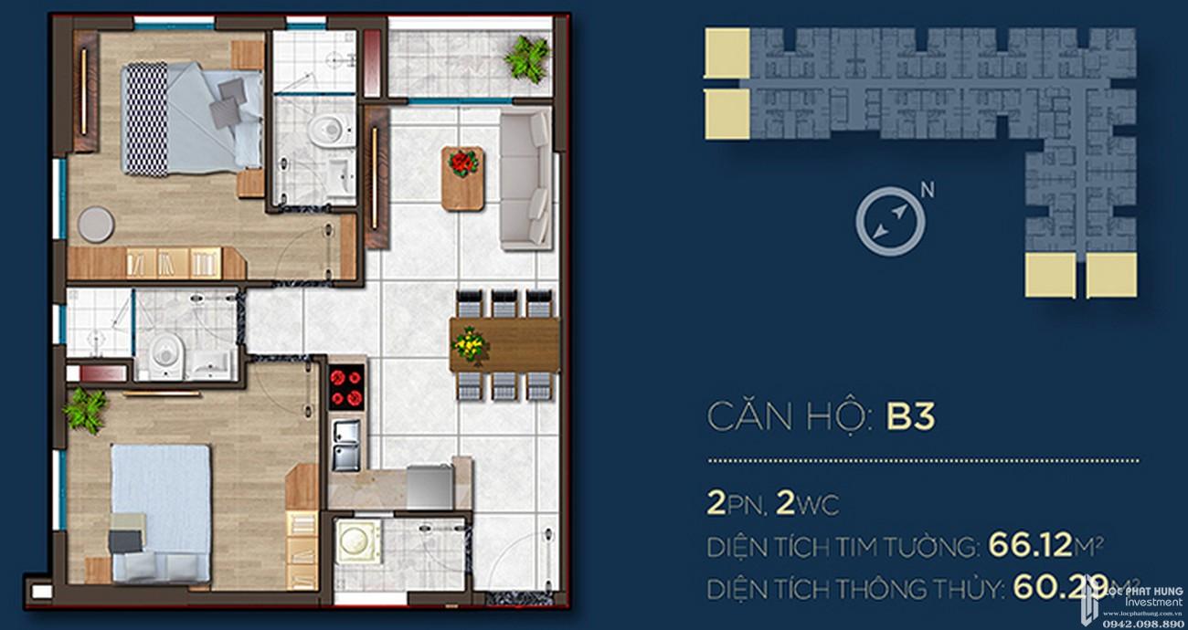 Thiết kế căn hộ B3 dự án Căn Hộ chung cư Happy One Central Phú Hòa Đường Đại Lộ Thủ Dầu Một chủ đầu tư Ốc Vạn Xuân