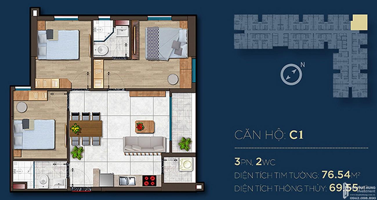 Thiết kế căn hộ C1 dự án Căn Hộ chung cư Happy One Central Phú Hòa Đường Đại Lộ Thủ Dầu Một chủ đầu tư Ốc Vạn Xuân