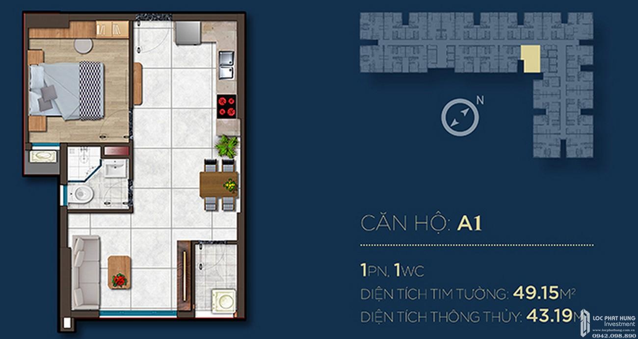 Thiết kế căn hộ A1 dự án Căn Hộ chung cư Happy One Central Phú Hòa Đường Đại Lộ Thủ Dầu Một chủ đầu tư Ốc Vạn Xuân