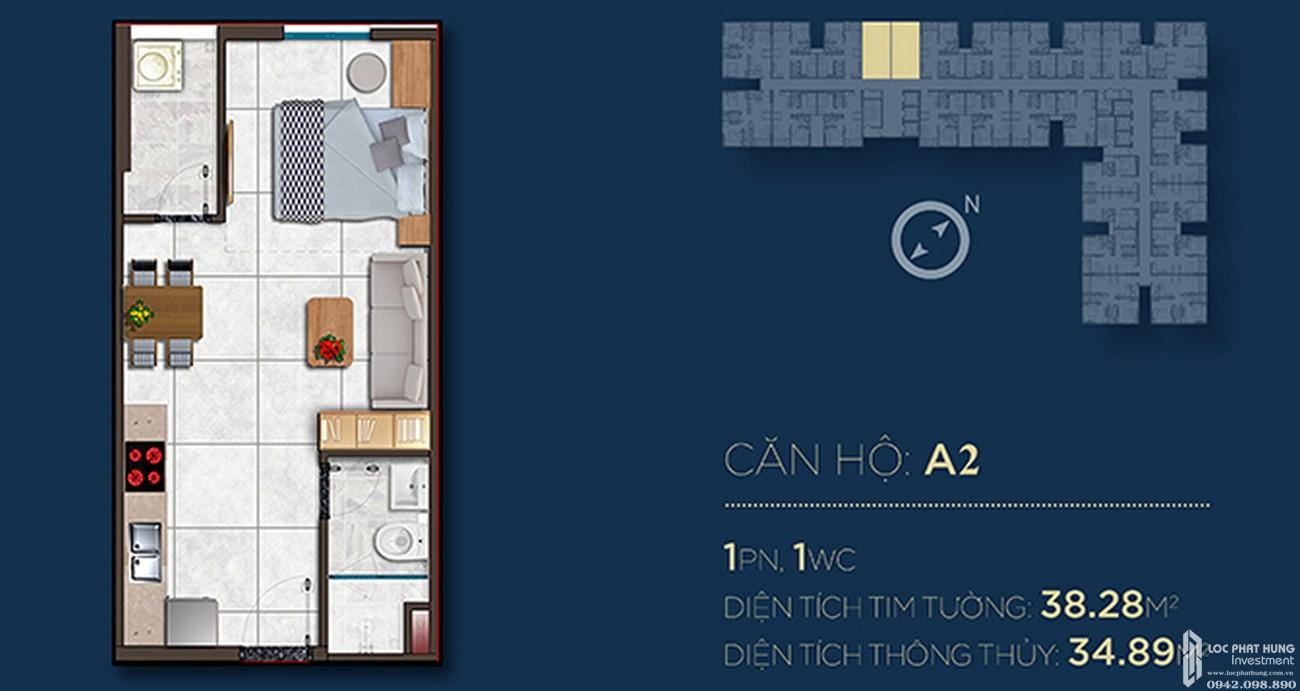 Thiết kế căn hộ A2 dự án Căn Hộ chung cư Happy One Central Phú Hòa Đường Đại Lộ Thủ Dầu Một chủ đầu tư Ốc Vạn Xuân