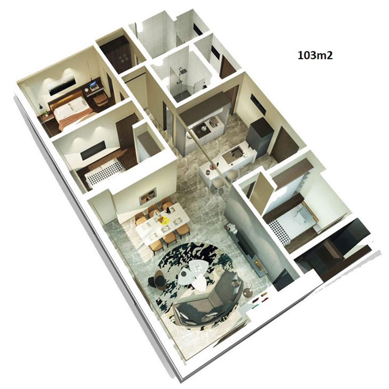 Thiết kế chi tiết căn hộ Kingdom 101 diện tích 103 m2