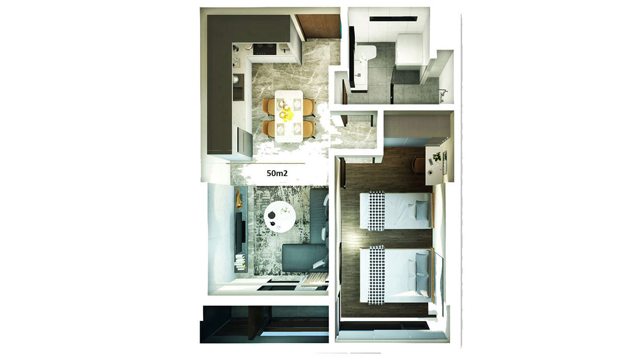 Thiết kế chi tiết căn hộ Kingdom 101 diện tích 50 m2