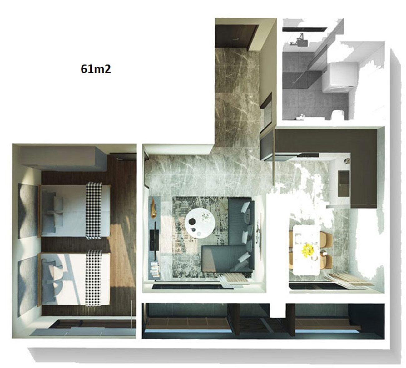 Thiết kế chi tiết căn hộ Kingdom 101 diện tích 61 m2