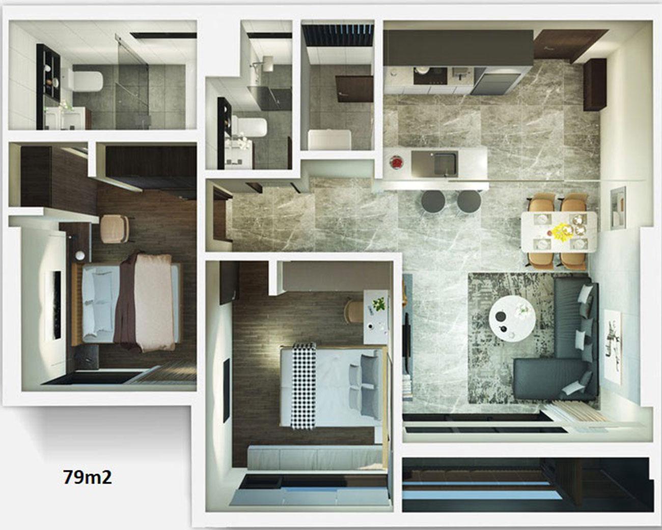 Thiết kế chi tiết căn hộ Kingdom 101 diện tích 79 m2