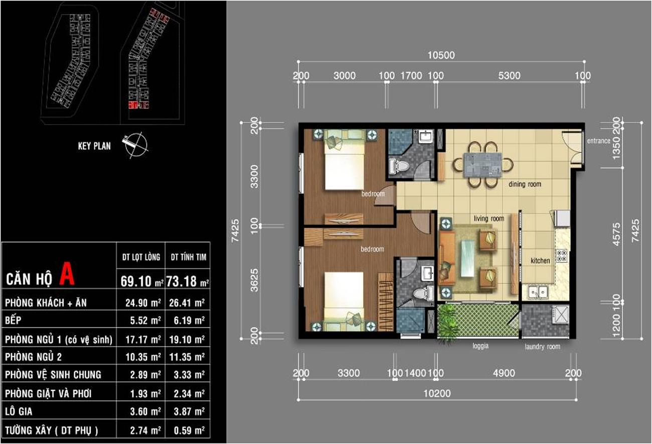 Thiết kế căn hộ Jamona City Quận 7 diện tích 69m2