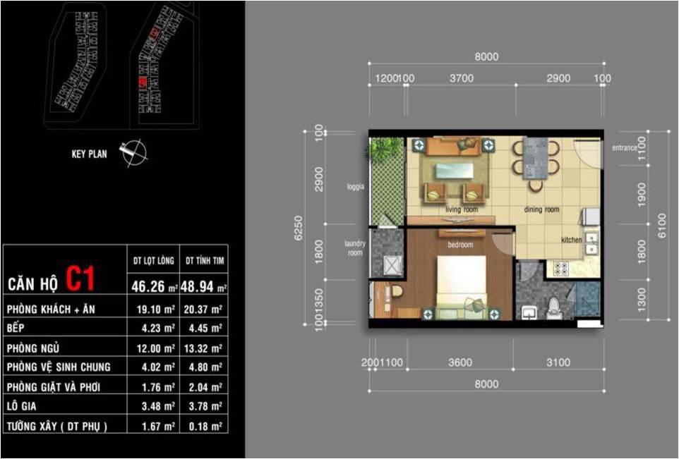 Thiết kế căn hộ Jamona City Quận 7 diện tích 46m2