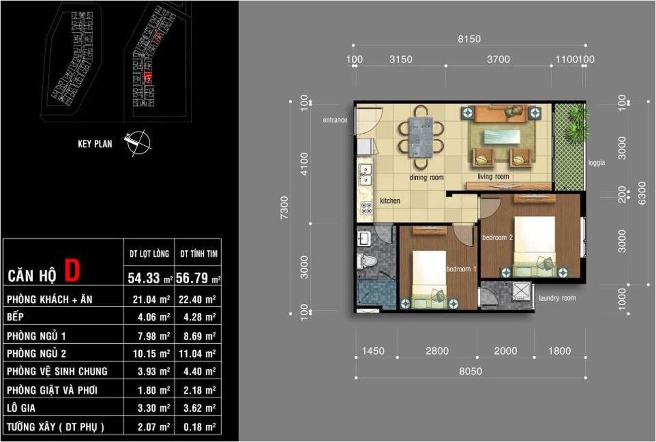 Thiết kế căn hộ Jamona City Quận 7 diện tích 54m2