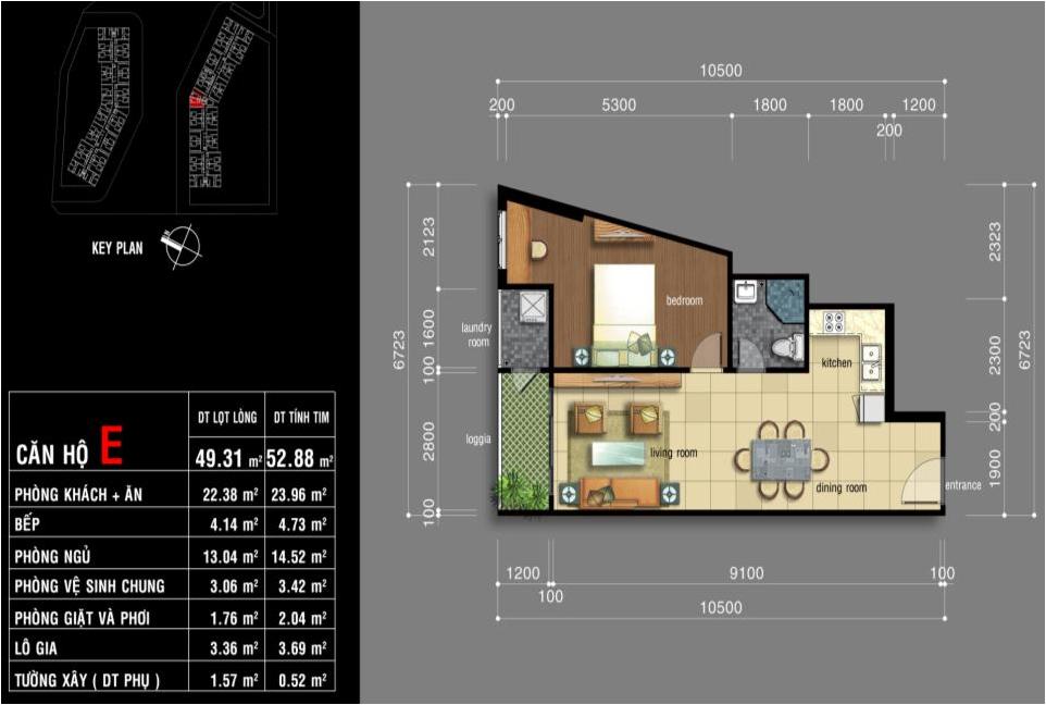 Thiết kế căn hộ Jamona City Quận 7 diện tích 49,3m2