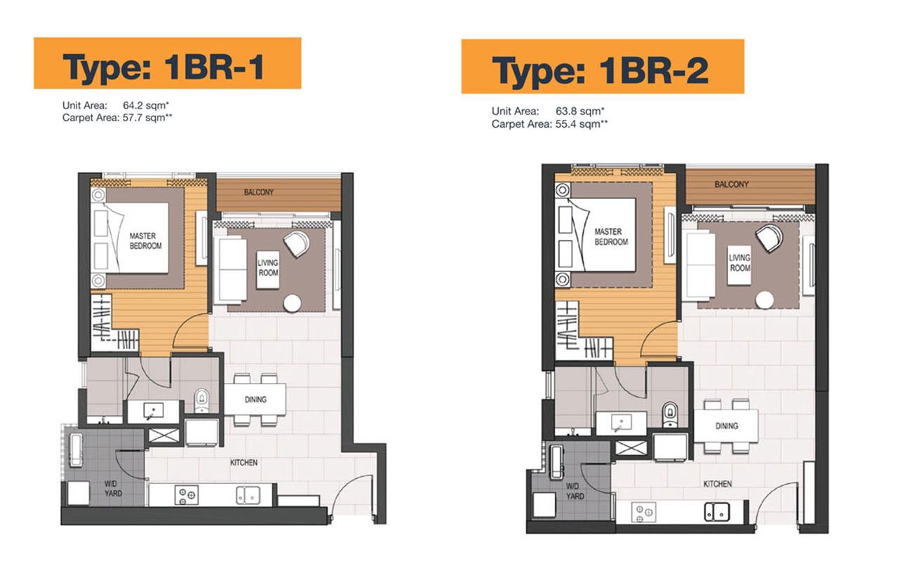 Thiết kế căn hộ 1 Phòng ngủ điển hình Empire City.
