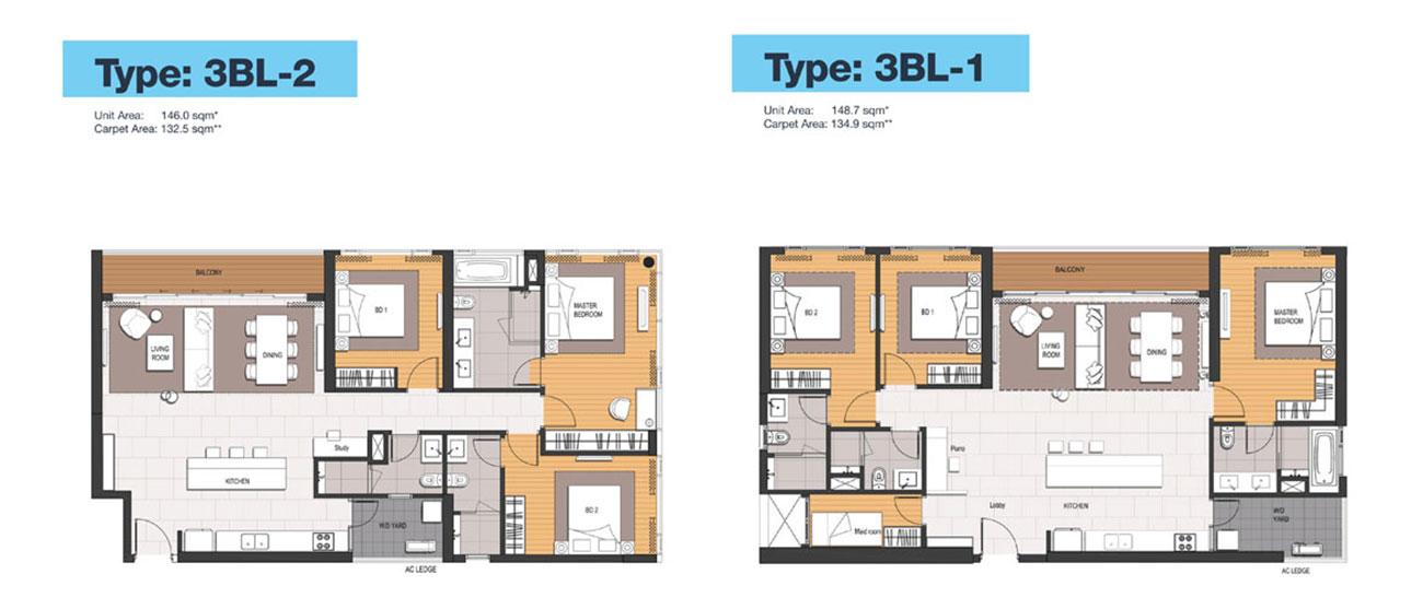 Thiết kế căn hộ 3 Phòng ngủ điển hình Empire City.