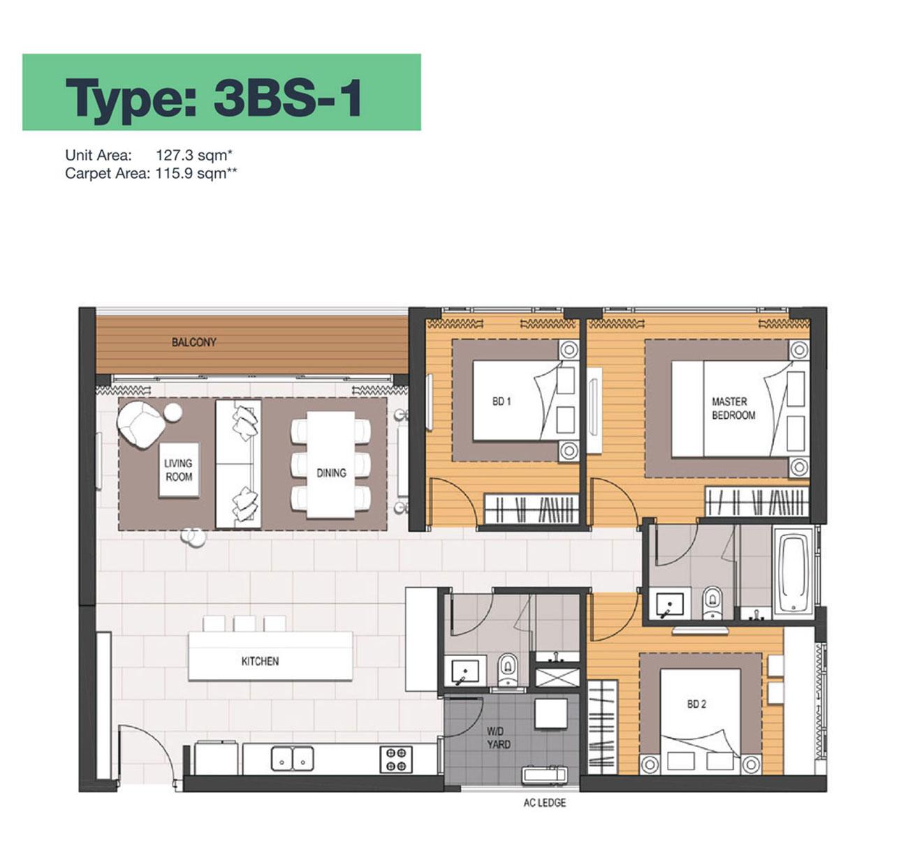 Thiết kế căn hộ 4 Phòng ngủ điển hình Empire City.