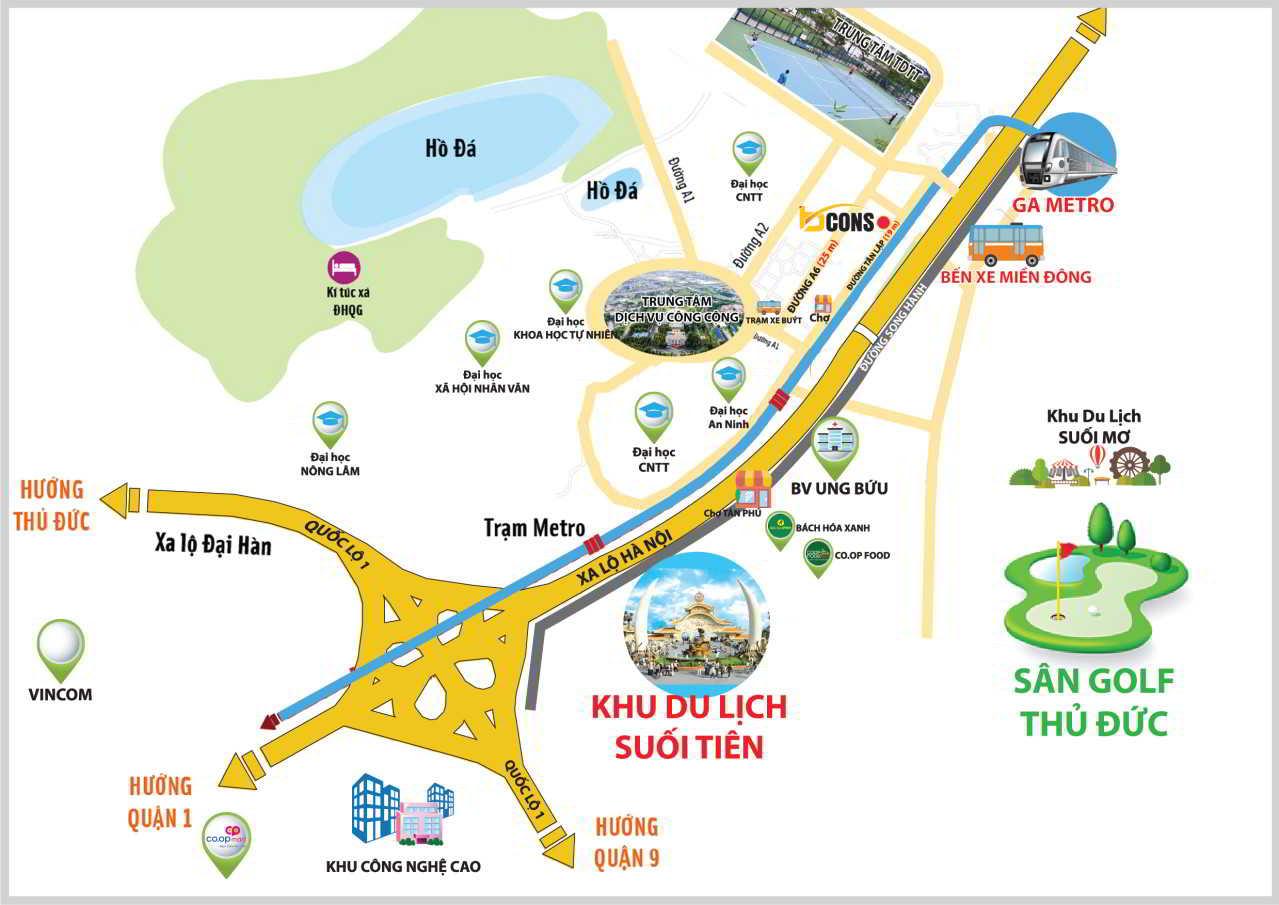 Vị trí địa chỉ dự án Căn Hộ chung cư Bcons Miền Đông Dĩ An Đường Tân Lập chủ đầu tư Bcons