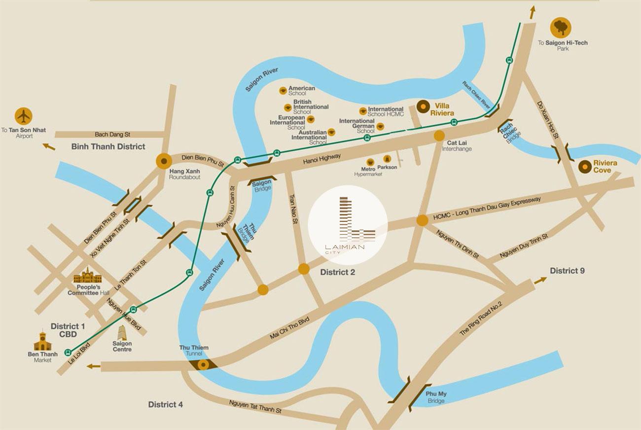 Vị trí vàng khu đô thị Laimian City tại trung tâm Quận 2