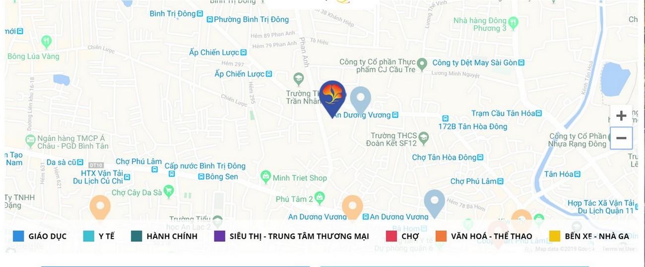 Vị trí địa chỉ dự án căn hộ chung cư Summer Square Quận 6 Đường Tân Hòa Đông chủ đầu tư Gotec Land