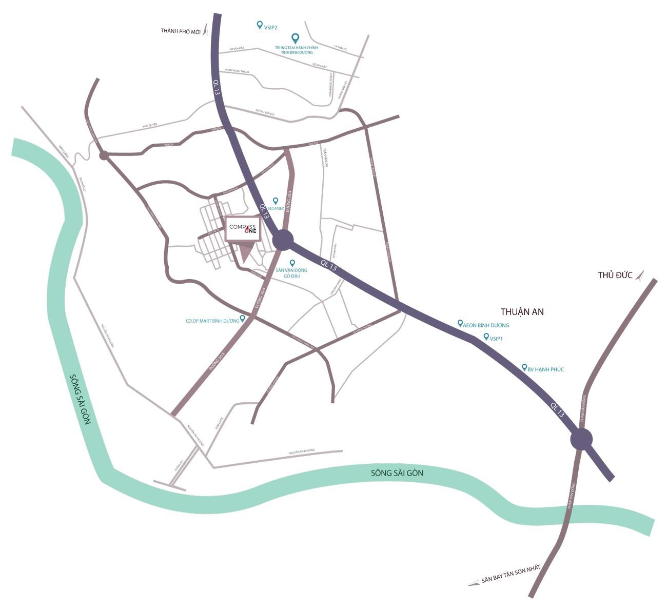 Vị trí địa chỉ dự án Căn Hộ chung cư Compass One Thủ Dầu Một Đường Hoàng Văn Thụ chủ đầu tư Tây Hồ