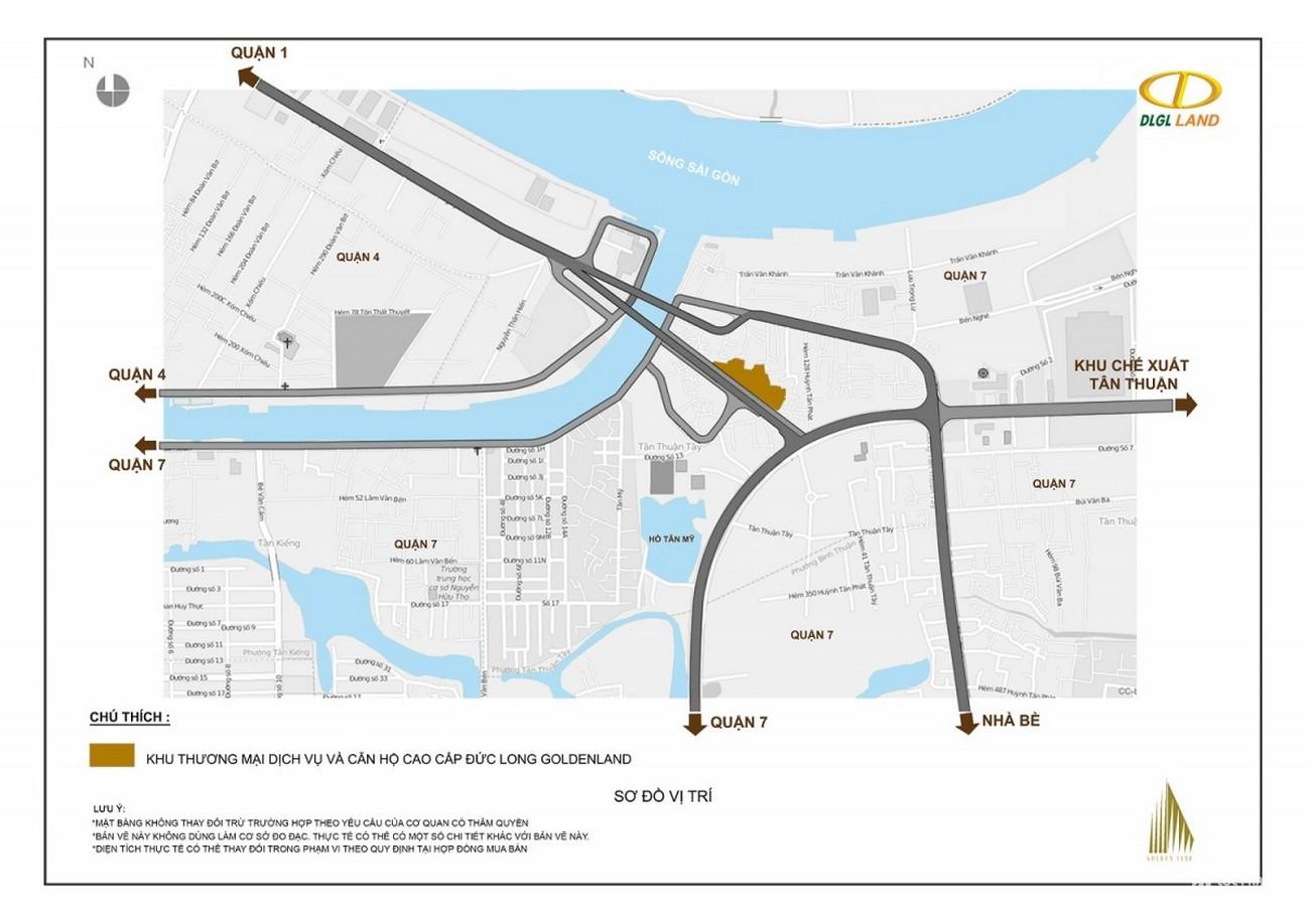 Vị trí địa chỉ dự án Căn Hộ chung cư Đức Long Golden Land Quan 7 Đường Huỳnh Tấn Phát chủ đầu tư Đức Long Gia Lai