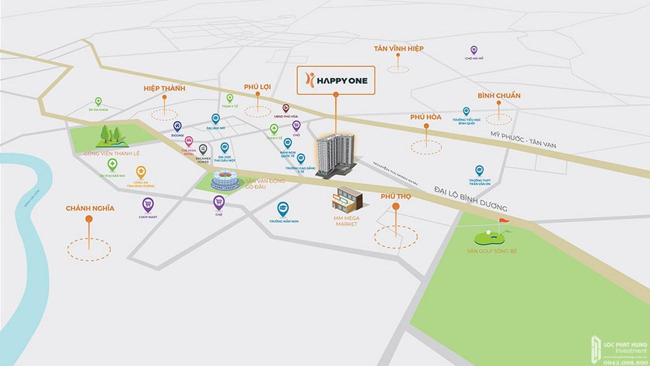 Tiện ích ngoại khu địa chỉ dự án Căn Hộ chung cư Happy One Central Phú Hòa Đường Đại Lộ Thủ Dầu Một chủ đầu tư Ốc Vạn Xuân