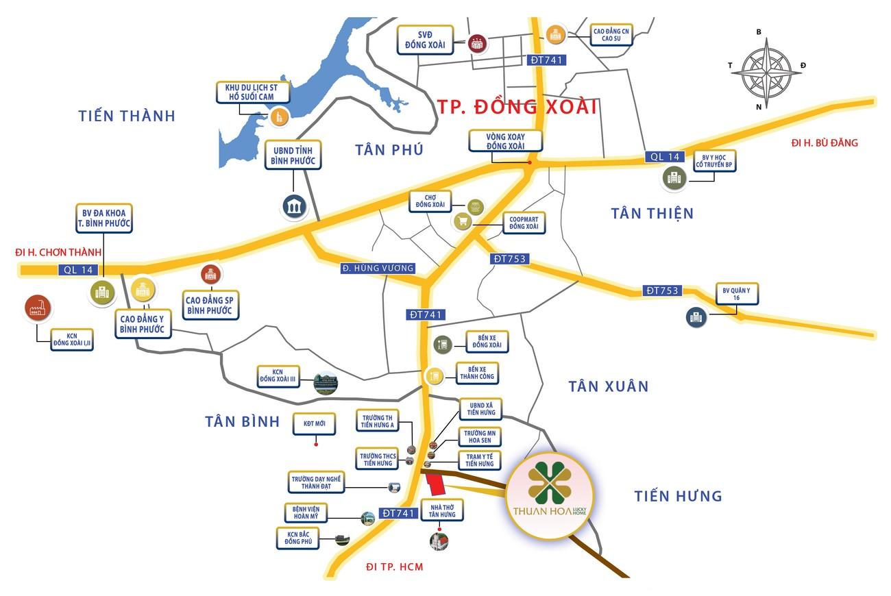 Vị trí địa chỉ dự án đất nền nhà phố Thuận Hòa Lucky Home Đồng Xoài Đường DT741 chủ đầu tư Thuận Hòa