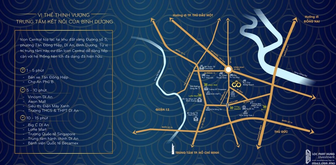 Vị trí địa chỉ dự án đất nền nhà phố Icon Central Dĩ An Bình Dương chủ đầu tư Phú Hồng Thịnh