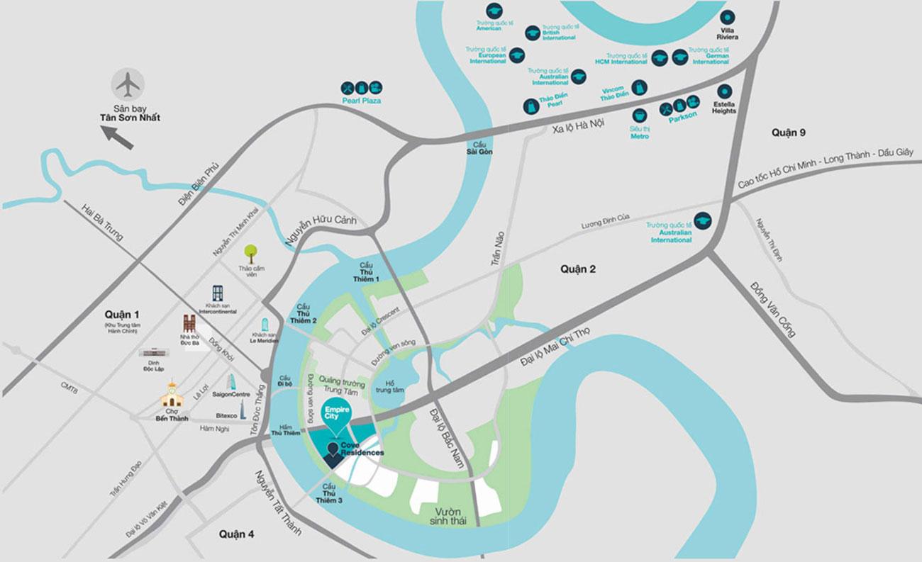 Vị trí tổng thể dự án Empire City Quận 2 ngay trung tâm Thủ Thiêm