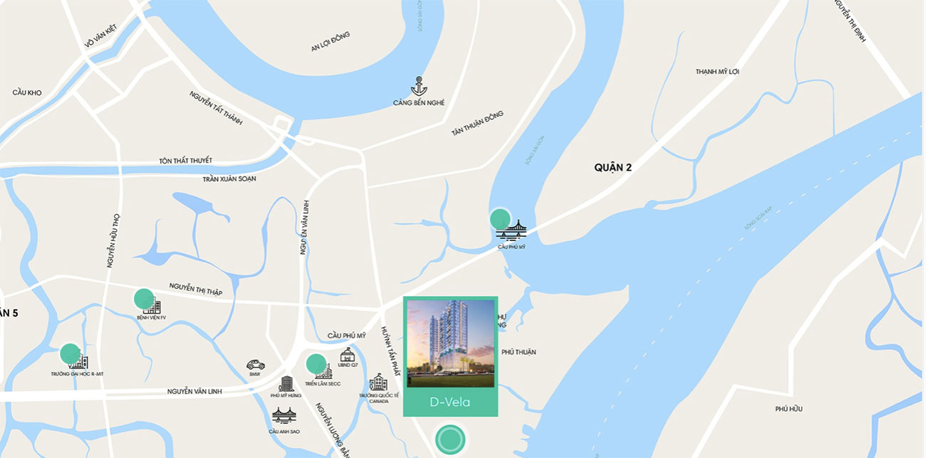 Vị trí dự án D Vela ngay trên trục đường Huỳnh Tấn Phát quận 7