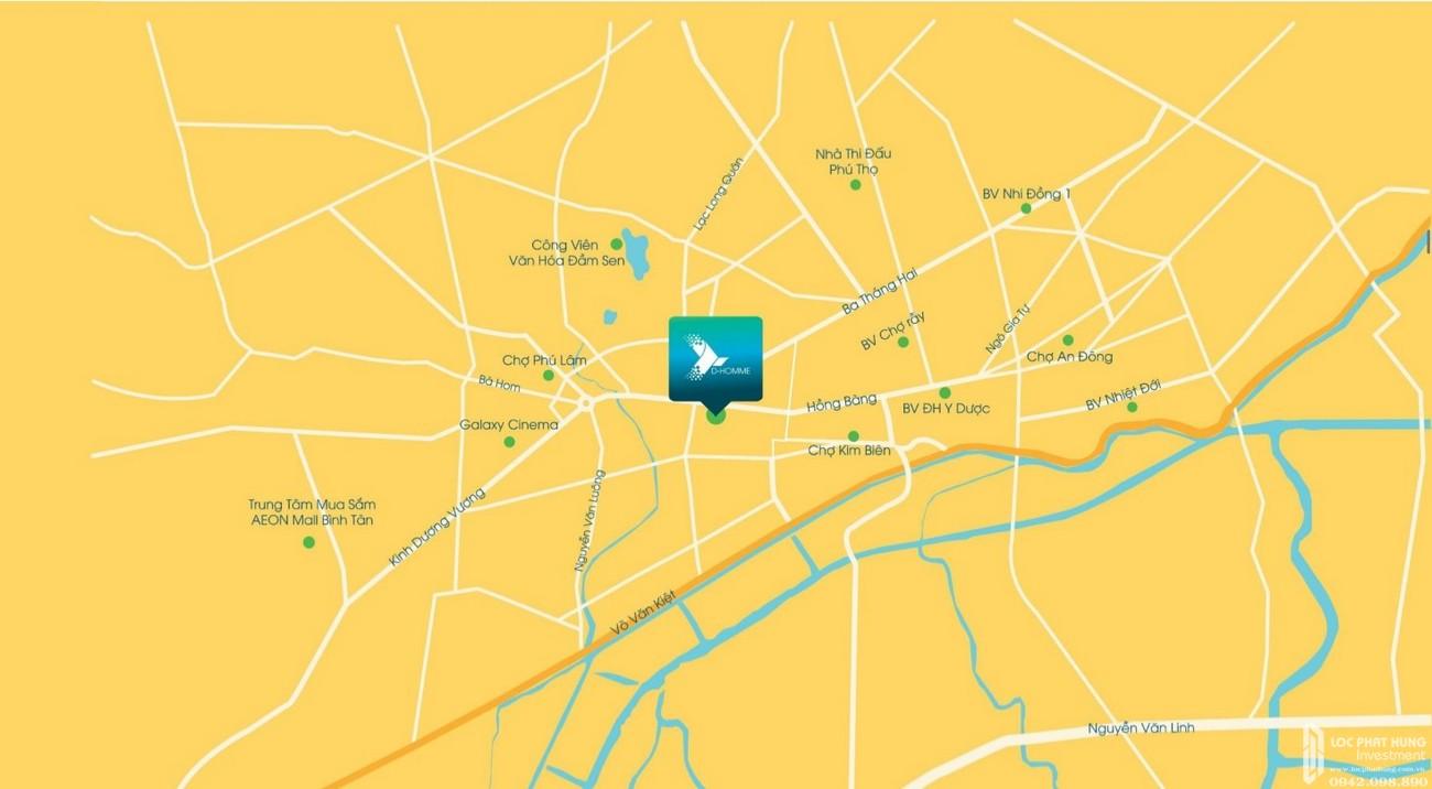 Vị trí dự án căn hộ D-Homme Quận 6 kết nối vàng