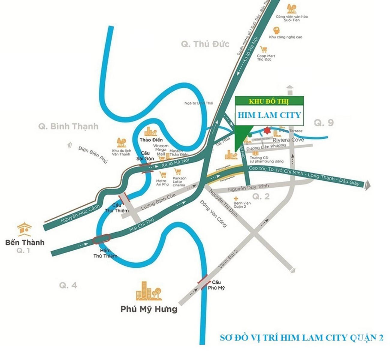 Vị trí dự án KHU ĐÔ THỊ SÀI GÒN BÌNH AN tại Phường An Phú Quận 2
