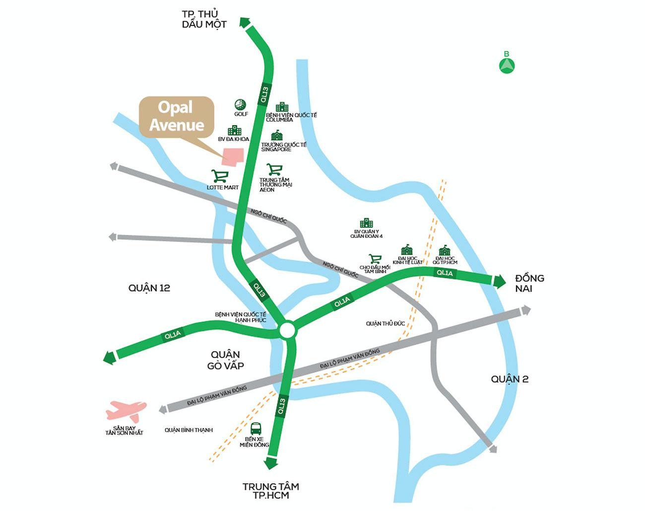 Vị trí vạng dự án Opal Avenue trên QL13 Bình Dương