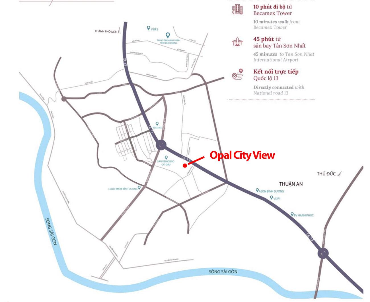 Vị trí dự án căn hộ Opal Cityview Bình Dương