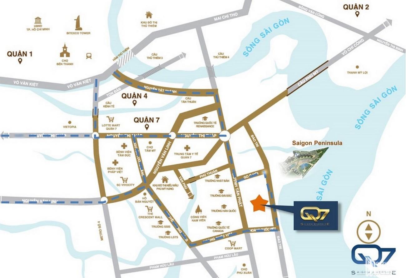 Địa chỉ vị trí dự án căn hộ Q7 Sài Gòn Riverside Complex