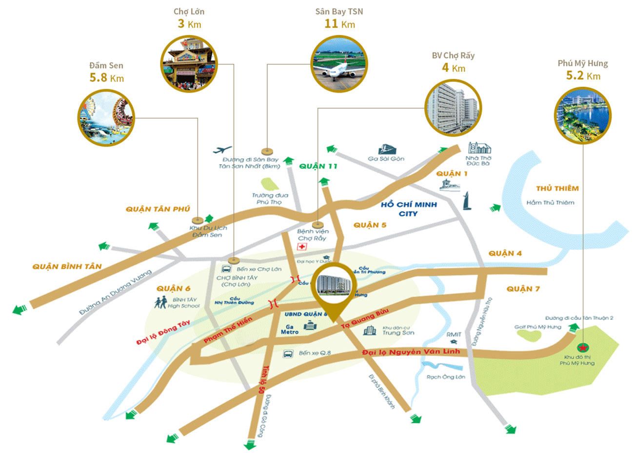 Vị trí dự án căn hộ Royal Park Riverside Tạ Quang Bửu Quận 8