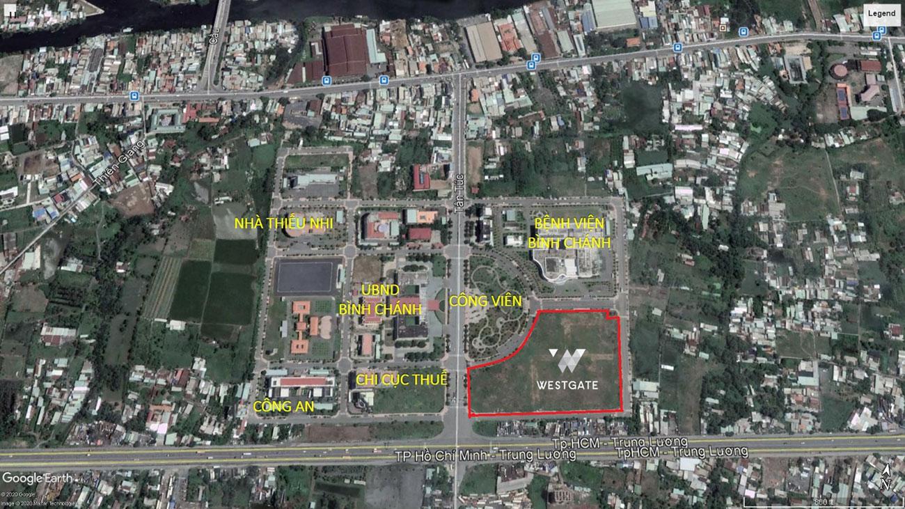 Dự án Westgate nằm ngay lõi trung tâm hành chính Tây Sài Gòn