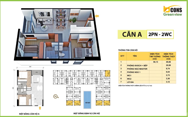 Mặt bằng căn hộ 01 dự án Bcons Green View